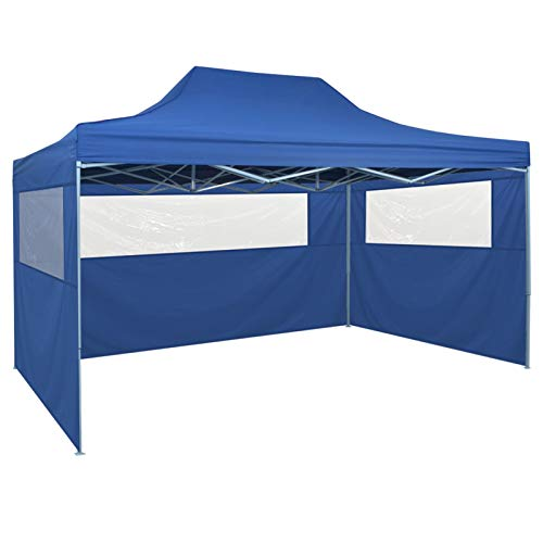 Vidaxl tenda pieghevole pop-up 4 pareti laterali 3x4,5 m blu tendone gazebo