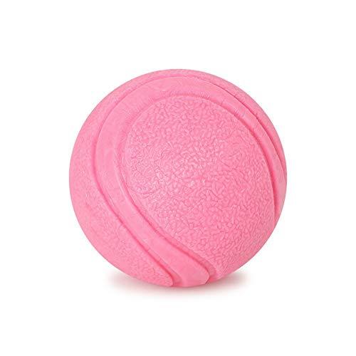 JKRTR Haustier Katze Hund Durable Einfarbig Pet Spielzeugball Gummi Solide(Rosa-3,S)