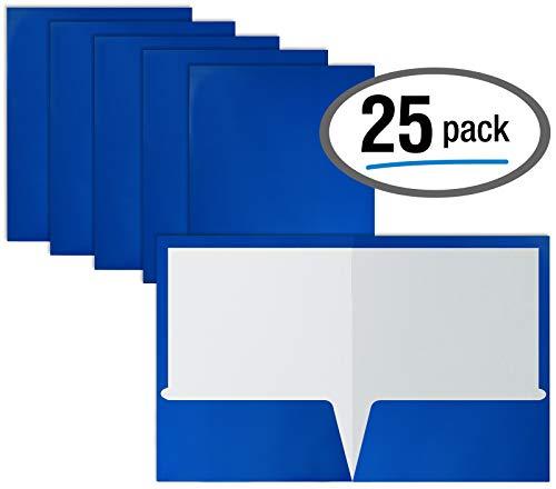 Better Office Products Papiermappen, 2 Taschen, glänzend, laminiert, Blau, 25 Stück