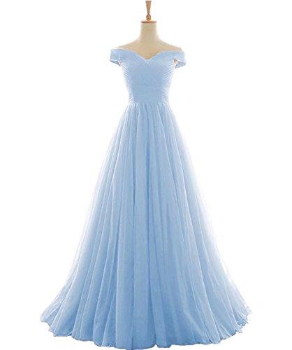 Vickyben Damen langes Ab-Schulter Tuell Prinzessin Kleid Abendkleid Ballkleid Brautjungfer kleid Party kleid (Blaues Schuhe Kleid)