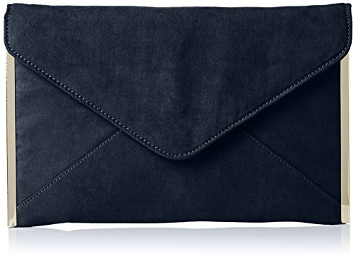 SwankySwans Damen Louis Suede Slim Envelope Party Prom Clutch Bag Tasche, Blau (Marineblau), One Size (Leather White Clutch Patent)