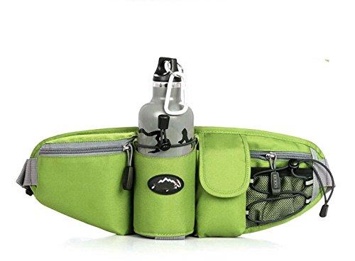 Wasserdicht Lendenwirbelsäule Taille Pack–Running Tasche Gürtel mit Wasser Flaschenhalter (die Flasche ist nicht im Lieferumfang enthalten) grün - grün