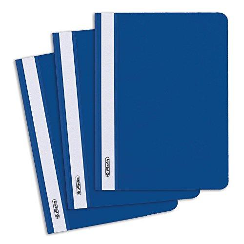 Herlitz 11256625 Schnellhefter A5 mit transparentem Vorderdeckel, 10 Stück, blau