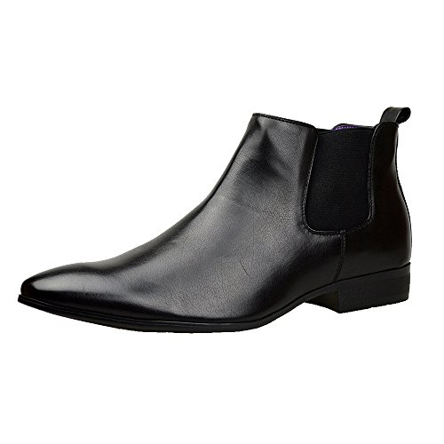 Mens Black Leather Smart Formal Casual Chelsea Boots Shoes UK SIZE 6...