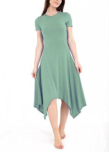 Islander Fashions Mesdames Long Hanky Hem Swing haute robe basse Womens Cape manchon vase Dguisements S / 3XL Kaki