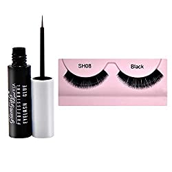 GlamGals Black soft Eye Lashes with Glue Transparent 6.5 ml