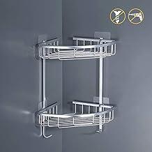 KES A4021BDF - Estantería esquinera para baño con 2 estantes de ducha de  aluminio resistente y 87dbc55183e5