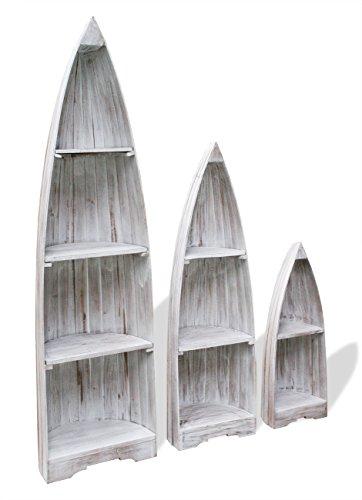 LioLiving®, 3-teiliges Regalset *BOAT* (mahagoni / white-washed / shabby chic) (#400081)