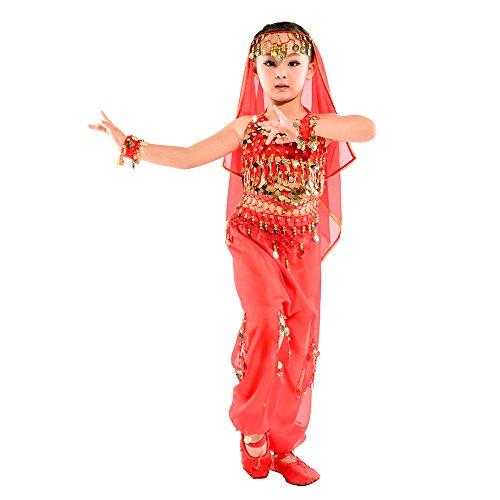 ischen Bauchtanz Kostüme Set, Ägypten Tanz Kleidung, Halloween Wear Karneval Sets, Oberteile + Hosen + Taille Ketten + 2 Armbänder + Schleier (Rot, EU XS = Tag S) ()