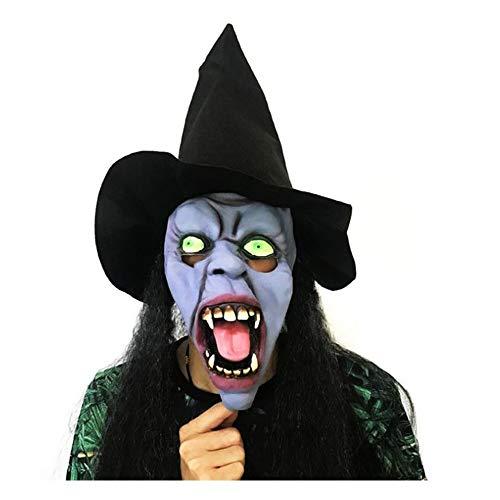 e Haare Hexe Horror Maske Erschrecken Latex Stirnband Schwarzer Hut Prom Performance Maske ()