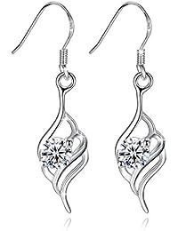 Fashmond- Boucles d'oreilles motif plume- Argent fin 925 et oxyde de zirconium- Idée cadeau anniversaire