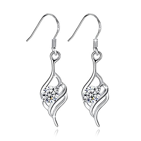 Fashmond Kindertag Geschenke Engelsflügel Feder Design Ohrgehänge für Damen Mädchen925 Sterling Silber Zirkonia ValentinstagGeschenke