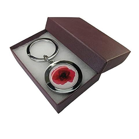 Handmade Silver Plated - Red Poppy Flower Inspired Keyring - Boxed Gift