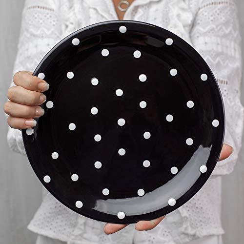 City to Cottage   Assiette plate   noire à pois blancs en céramique faite et peinte à la main   25,5cm