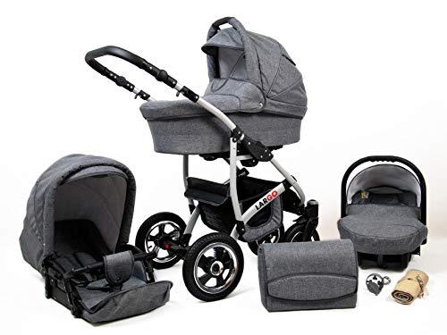 Kinderwagen Largo,3 in 1 -Set Wanne Buggy Babyschale Autositz mit Zubehör Grey Flex