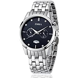 ZHHA Men's 013 Day Date Multifunction Chronograph Quartz Stainless Steel Black Waterproof Watch