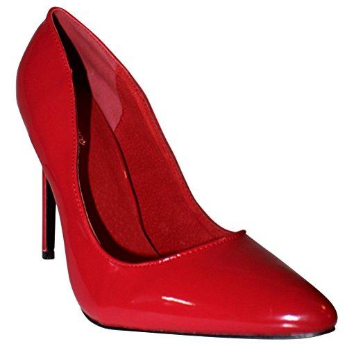 Erogance Lack High Heels Pumps, Scarpe col tacco donna Rosso