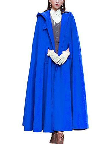 Gihuo Damen Poncho mit Kapuze, Wollmischung - Blau - Einheitsgröße