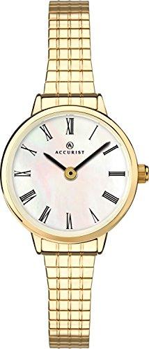 Accurist Femme montre à quartz avec cadran blanc analogique et bracelet en acier inoxydable Or 8209