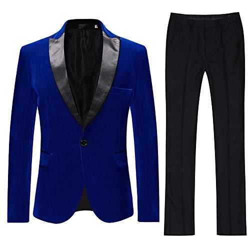 Velvet Smoking-hose (Allthemen Herren Anzug Samt Optik Blau Rot Knopf Formell Hose Fliege Party Hochzeit)