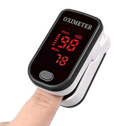 1 Pulsossimetro da dito a punta di dita, display a LED portatile Misuratore di ossigeno nel sangue Frequenza cardiaca Oximetro(Nero)