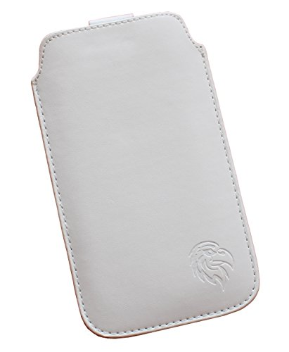 Schutz-Tasche passend fuer Samsung Galaxy A3 (2017), Pull-tab Handy-Huelle herausziehbar, Etui genaeht mit Rausziehband, duenne Tasche mit exklusivem Motiv Adler SM Weiss