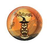 Leisial 10 PZ Stoviglie di Halloween Piatto di Carta Rotondo Usa e Getta Modello di Strega Zucca Piastra Fornitura di Cibo per Dessert Forniture per Feste