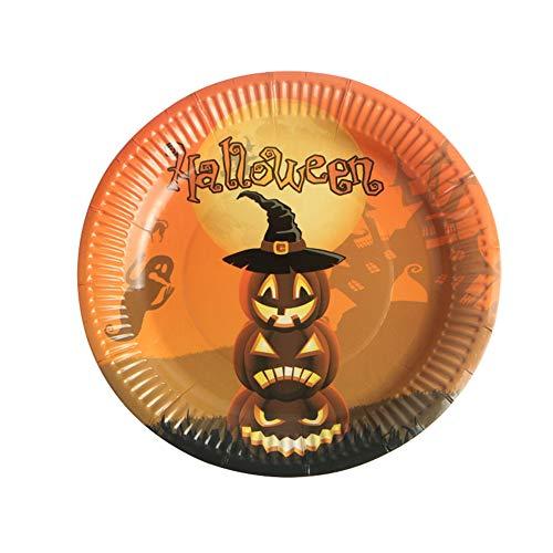 10X Toruiwa Halloween Einweg Pappteller Papierteller Thema Papier Platte Geschirr für Halloween Geburtstag Cosplay Party Karneval Fasching ()