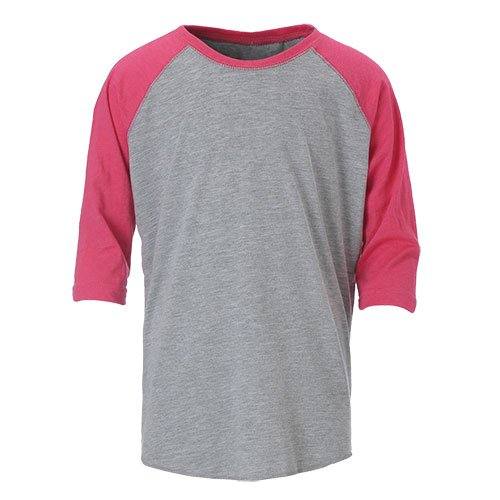Ouray Sportswear Vintage 3/4 Sleeve Baseball Tee, Vintage Heather/Vintage Hot Pink, Medium