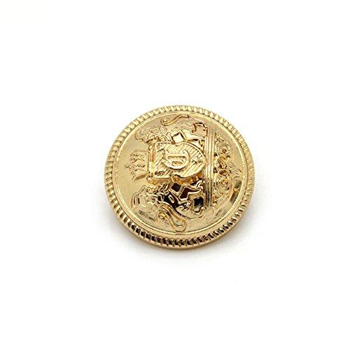 Dekorative Knöpfe aus Metall, mit Logo, Jacke, Anzug, Schnalle, 10Stück, gold, 25 mm