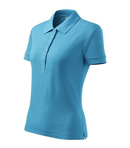 Dress-O-Mat Damen Poloshirt T-Shirt Polohemd Tailliert Türkis Blau