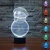 3D Illusion Muñeco de nieve Lámpara luces de la noche ajustable 7 colores LED Creative Interruptor táctil estéreo visual atmósfera mesa regalo para Navidad