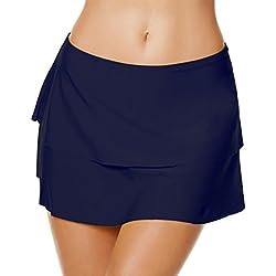 YoungSoul Trajes de Baño con Falda incorporada - Shorts de Baño de Playa - Falda de Bikini con Volantes a Capas para Mujer Armada EU 44