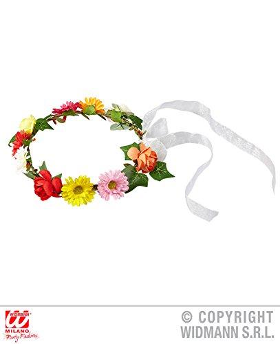 DIADEM - HIPPIE - mit Blumen und Bänder, Kopfbedeckung Haarkranz Blumemkranz Trendschmuck Modeschmuck Halsketten Ketten 60er 70er Jahre Flower Power Woodstock (Kostüm Festival Woodstock)