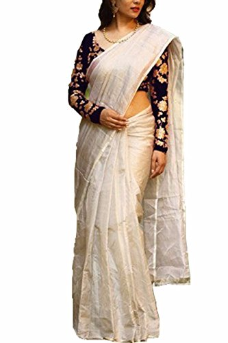Shayam Women's Clothing Saree Collection in Off-white Coloured Chanderi Material For Women...