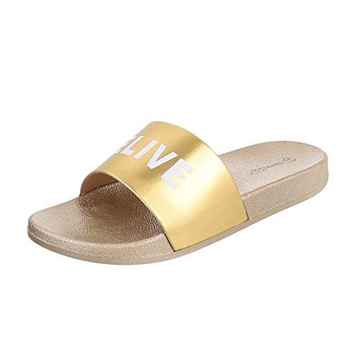 Ital-Design Pantoletten Damen-Schuhe Jazz & Modern Leichte Sandalen/Sandaletten Gold, Gr 36, - Jazz Kostüm Designs