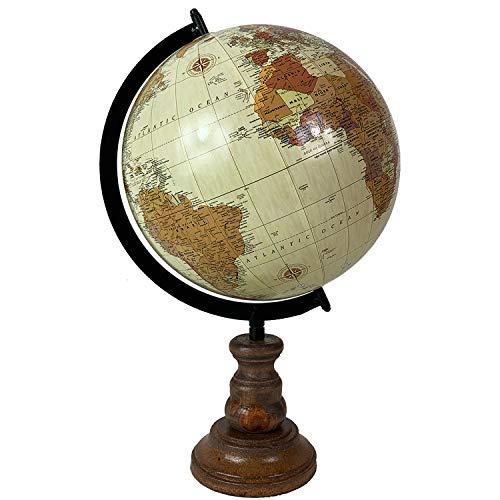 FineHome Dekorative Weltkugel Globus mit Holzständer Antik-Stil Höhe 37cm Ø23cm Standglobus -