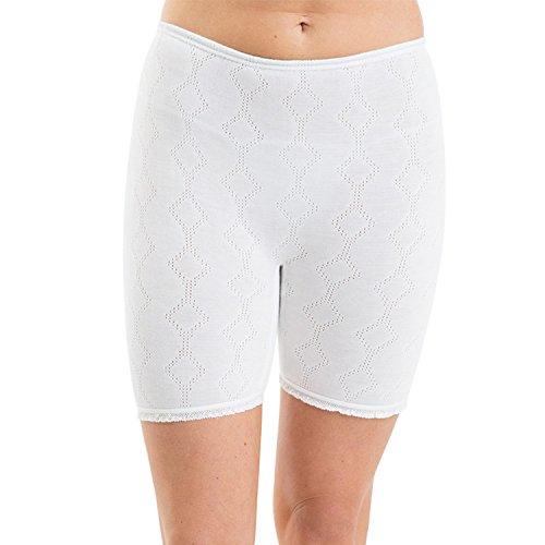 Damen Thermo Unterwäsche 3er Packung Jacquard Hose Poly/Viskose - Verschiedene Farben & Größen Weiß