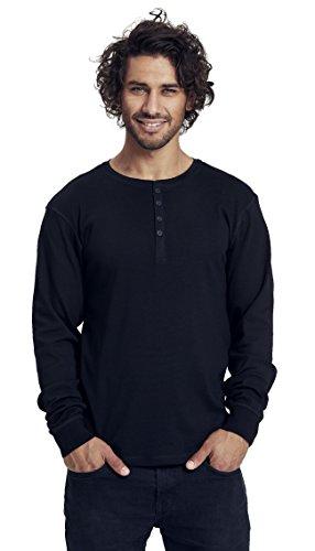 Green Cat Herren Langarm T-Shirt mit Knopfleiste, 100% Bio-Baumwolle. Fairtrade, Oeko-Tex und Ecolabel Zertifiziert, Textilfarbe: Schwarz, Gr.: XXXL (Tee Bio-baumwolle Langarm)
