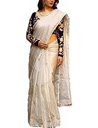 Anmol Women's Cotton Silk Saree With Blouse Piece (Pd146Sr2562, White, Free Size)