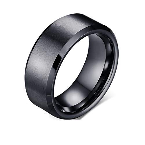 Gkmamrg Damen Herren Edelstahl Ring 8mm Biker Ehering Hochzeitsband Bandring Trauringemit Ketten Silber Gold schwarz für Männer Frauen (63 (20.1)) (Männer Silber Und Schwarz Ehering)