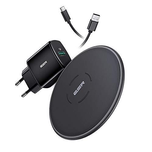 ESR Wireless Charger mit QC 3.0 Adapter,7,5W/10W Induktions Ladegerät Set für iPhone XS/XS Max/XR/X/8/8+,Galaxy S10/S10+/S10e/S9/S9+,5W Modus für P30 Pro und Allen Qi-fähigen Geräten.