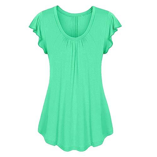 LOPILY Sommer T-Shirt Kurzarmshirt Damen Elegante Übergröße Kurzarm Gekräuselte Geraffte Shirts Blusen Tops Sommer Lässige Unregelmäßiger Saum Falten Bluse Oberteil(Grün,L)