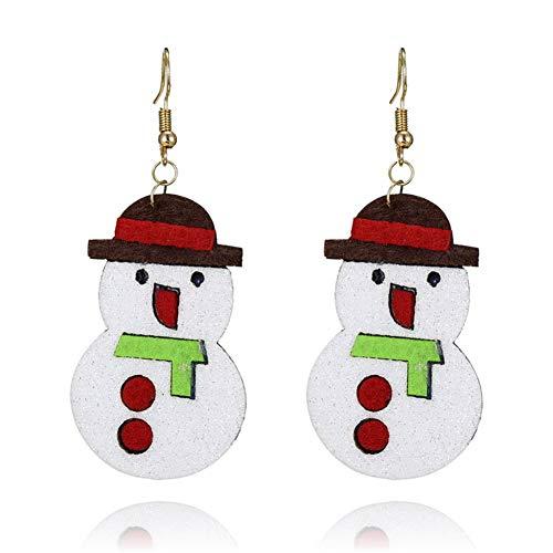 Aruie Ohrringe für Damen Mädchen aus Legierung Stoff Filz mit Schneemann Hut Antiallergisch Schmuck Geschenk Weihnachten