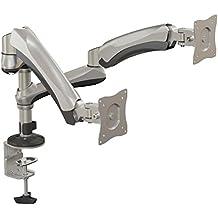 V7 DM1SGSD-1E Doppel-Gasfeder-Monitor-Halterung für zwei Monitore bis zu 27 Zoll  oder mit 9kg Gewicht (Vesa 75x75, 100x100)