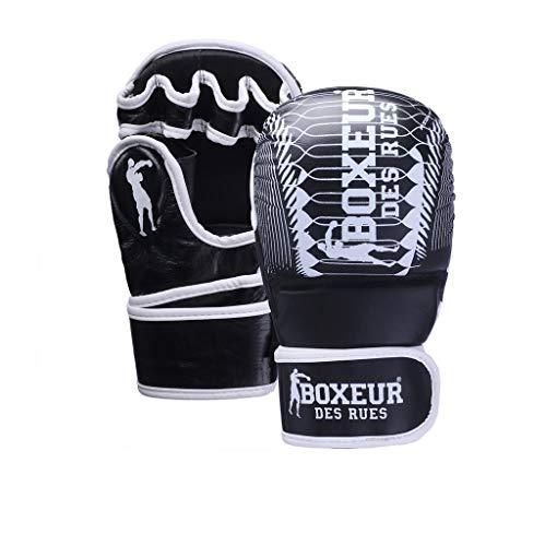 BOXEUR DES RUES Serie Fight Activewear, Guanti da MMA con Chiusura in Velcro Unisex – Adulto, Nero, M