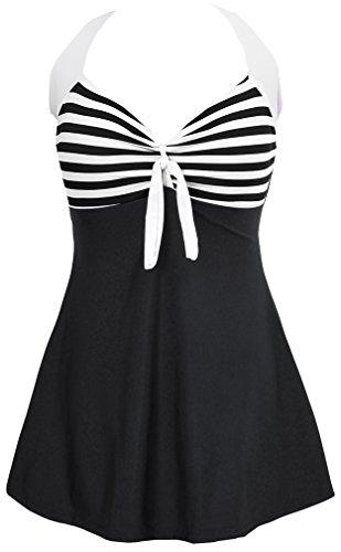 Bettydom Damen Neckholder Push Up Tankini mit Hotpants Badeanzug Schlankheits Mit Röckchen Bademode (3XL, 2 Schwarz Streifen)