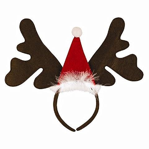 1x Christmas Santa Hat And Reindeer/ Moose Antler Headband