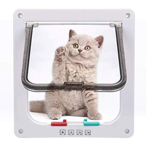 *Sailnovo Katzenklappe 4-Way Magnetic Lock hundeklappe Haustiertüre Cat Flap 19 * 20 * 5.5cm Dog Cat Pet Door Flap Easy Install with Telescopic Frame with Heavy Duty Quiet Magnetic Frame, M weiß*