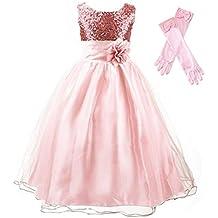 GenialES® Vestido con Guantes Largos de Fiesta para Niñas Disfraz de Princesa Linda Dulce Bonito Cute Wedding Party Dress a Partir de 4 a 15 años